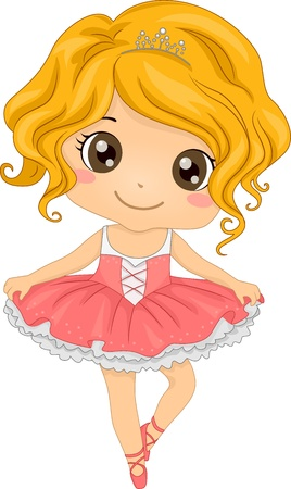 young girl: Illustration Featuring a Little Ballerina