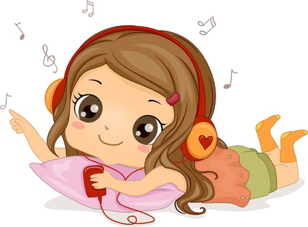 pastime: Illustration Featuring a Girl Listening to Music Stock Photo
