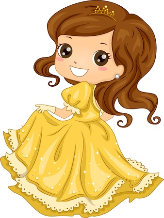 evening gown: Illustration Featuring a Girl Dressed as a Princess Stock Photo