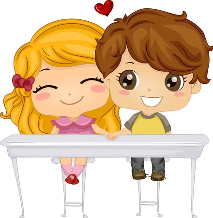 girl in love: Illustration Featuring a Boy and a Girl Holding Hands