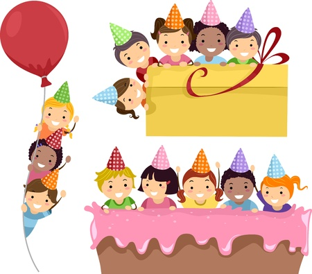 stick children: Illustration Featuring Kids Having a Birthday Party on Party Borders Stock Photo