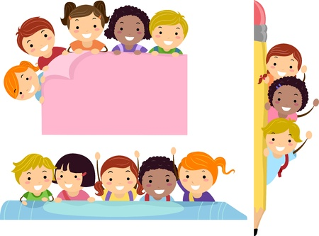Illustration Featuring School Children Beaming Happily on Education Borders Stock Illustration - 14343653