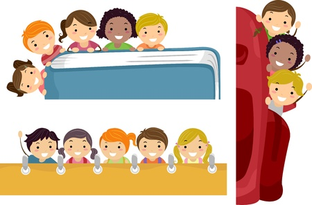 school border: Illustration Featuring School Children Beaming Happily on Education Borders