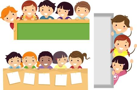 cartoon school girl: Ilustraci�n que ofrece la Escuela Transmisi�n de ni�os felices en las fronteras de Educaci�n