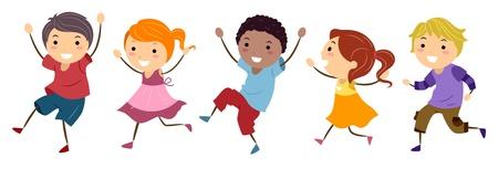 niños caminando: Niños ilustración que ofrece Salto Felizmente Foto de archivo