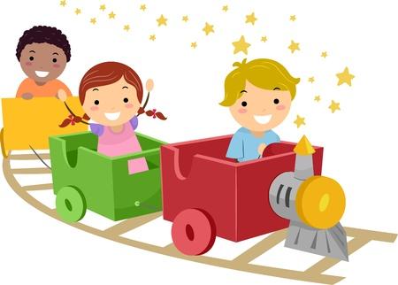 niños jugando caricatura: Niños ilustración que ofrece en un tren