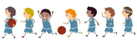basketball team: Illustration Featuring Kids Dressed to Play Basketball