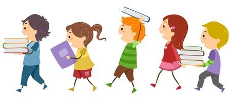 niño preescolar: Ilustración que ofrece llevar libros para niños