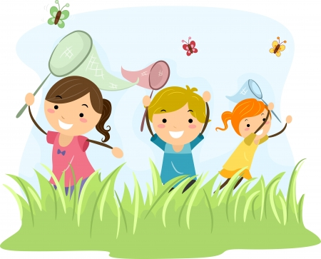playmates: Ilustración Con Niños cazando mariposas Foto de archivo