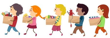 juguetes antiguos: Ilustración que ofrece niños llevar cajas de donación Foto de archivo