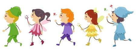 fancy dress: Illustration Featuring Kids Wearing Costumes
