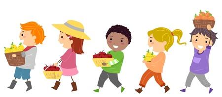canasta de frutas: Ilustraci�n que ofrece Los ni�os que llevan cestas de frutas Foto de archivo