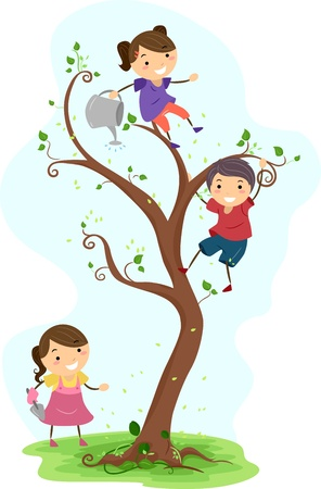 tree planting: Illustration Featuring Kids Doing Some Gardening