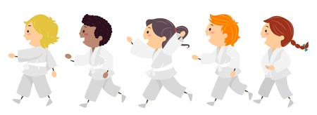 martial arts: Illustration Featuring Kids Learning Karate Stock Photo