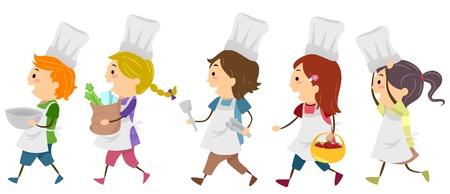 dessin enfants: Enfants Illustration Mettant en vedette dans un cours de cuisine Banque d'images