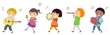 instruments de musique: Enfants Illustration Mettant en vedette dans un d�fil� de musique Banque d'images