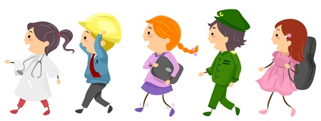 Illustration Featuring Kids Dressed as Professionals Stock Photo