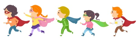 Illustration Featuring Kids Dressed as Superheroes illustration