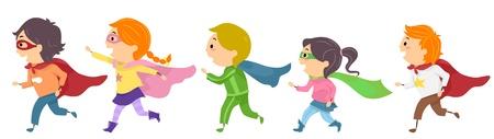 superheroes: Illustration Featuring Kids Dressed as Superheroes