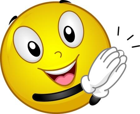 aplaudiendo: Ilustraci�n que ofrece un aplauso Smiley Foto de archivo