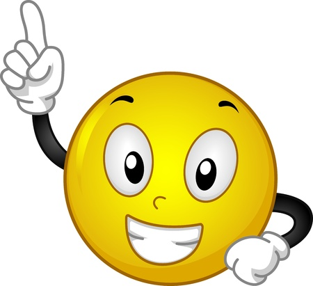 achievement clip art: Illustration Featuring a Smiley with a Raised Index Finger Stock Photo