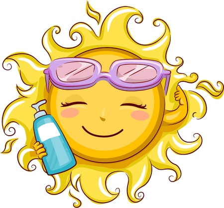 sunblock: Illustration Featuring the Sun Holding a Sunblock Lotion