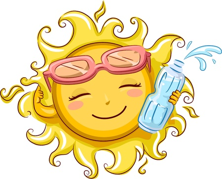 cartoon sun: Illustration Featuring the Sun Holding a Bottled Water Stock Photo