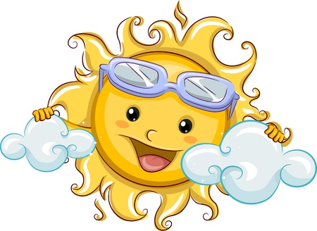 hot day: Illustration Featuring the Sun Hiding Behind Clouds Stock Photo
