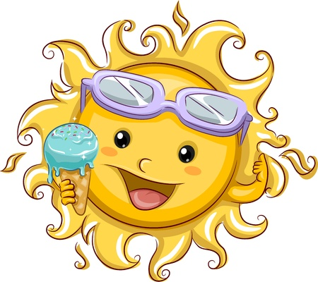 cartoon summer: Illustration Featuring the Sun Holding an Ice Cream