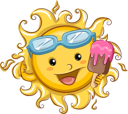 popsicle: Illustration Featuring the Sun Holding a Popsicle Stock Photo