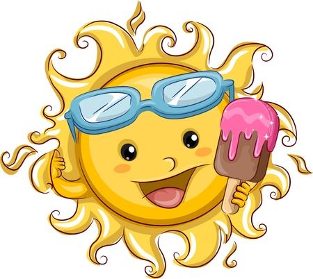 sol caricatura: Ilustración que ofrece el Sol La celebración de una paleta Foto de archivo