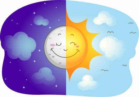 Illustration of a Split-screen Showing the Sun and the Moon illustration
