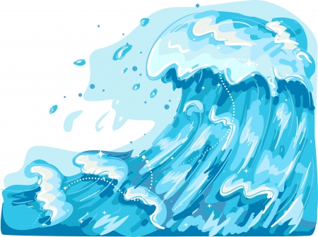 mare agitato: Illustrazione Con Onde marine giganti