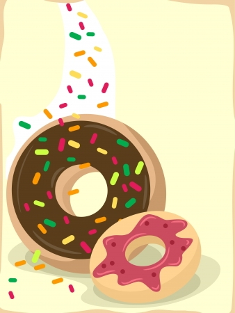 Background Illustration Featuring Appetizing Doughnuts illustration