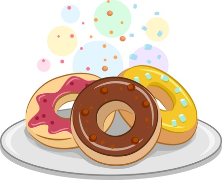 donut: Illustration Featuring Appetizing Doughnuts with Sprinklles Stock Photo