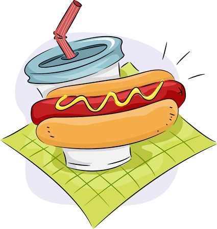 hotdog: Icon Illustration Featuring a Hotdog Sandwich and a Drink