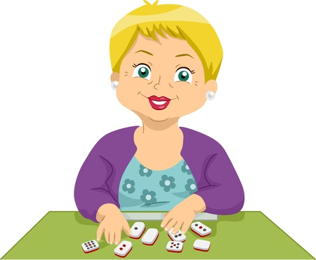 Illustration of an Elderly Woman Playing a Board Game illustration