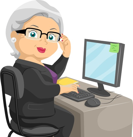 computer cartoon: Illustration Featuring an Elderly Woman Using a Computer