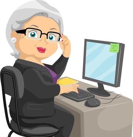 computadora caricatura: Ilustración que ofrece a una mujer mayor uso de un ordenador Foto de archivo