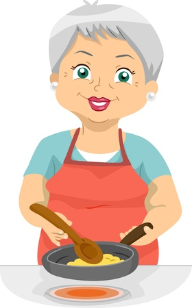 homely: Illustration Featuring an Elderly Woman Cooking