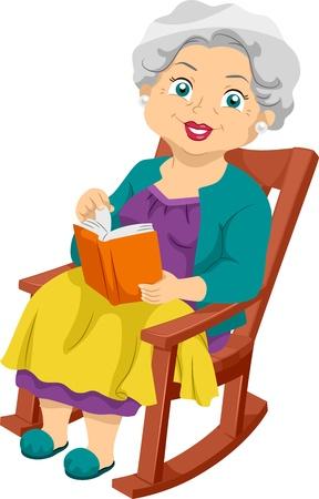 abuela: Ilustraci�n que ofrece una anciana sentada en una silla oscilante