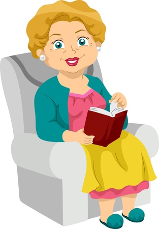grandmother: Illustration Featuring an Elderly Woman Reading a Book Stock Photo