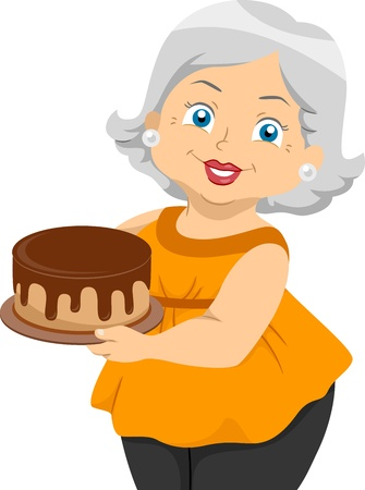 grandmother: Illustration Featuring an Elderly Woman Holding a Cake