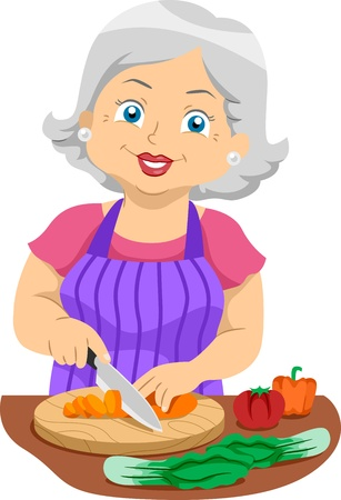 old kitchen: Illustration Featuring an Elderly Woman Slicing Veggies Stock Photo
