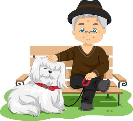 Illustration, die einen älteren Mann, der seinen Hund für einen Spaziergang