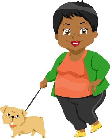senior citizen: Illustration Featuring an Elderly Woman Taking Her Dog for a Walk