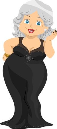 grandma: Illustration Featuring an Elderly Woman Wearing an Evening Dress