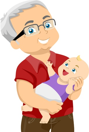 cutout old people: Illustration Featuring an Elderly Man Holding His Grandchild