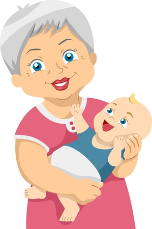 grandchildren: Illustration Featuring an Elderly Woman Stock Photo