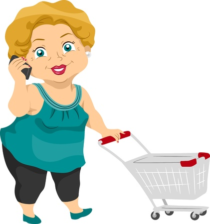 woman shopping cart: Illustration Featuring an Elderly Woman Out Shopping
